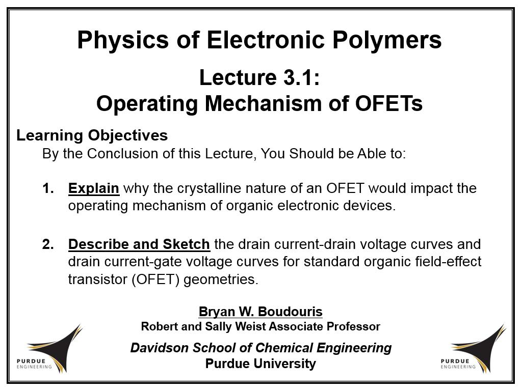 Lecture 3.1: Operating Mechanism of OFETs