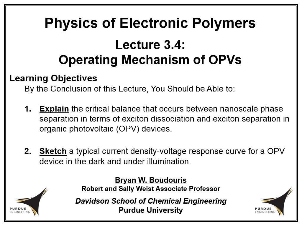 Lecture 3.4: Operating Mechanism of OPVs