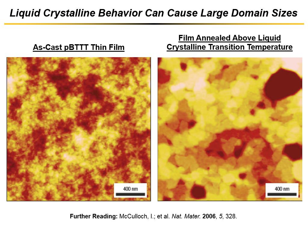 Liquid Crystalline Behavior Can Cause Large Domain Sizes