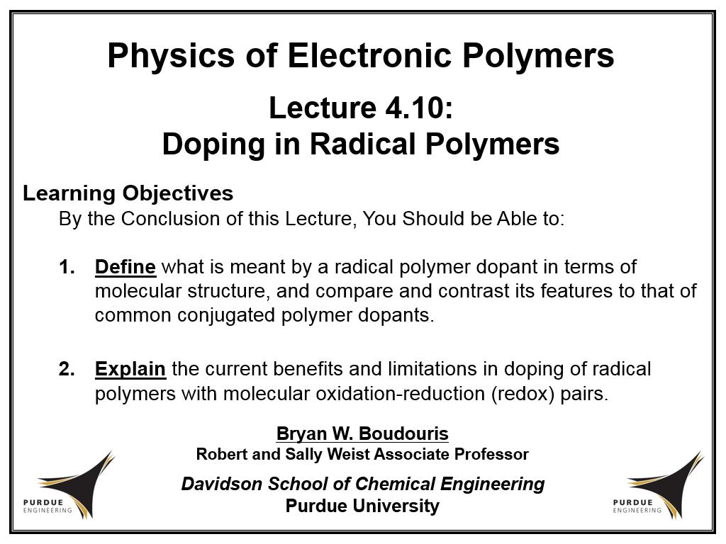 Lecture 4.10: Doping in Radical Polymers