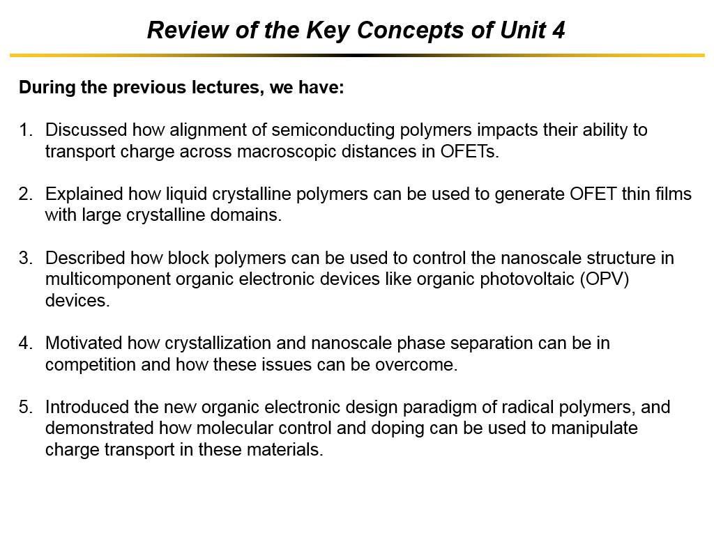 Review of the Key Concepts of Unit 4