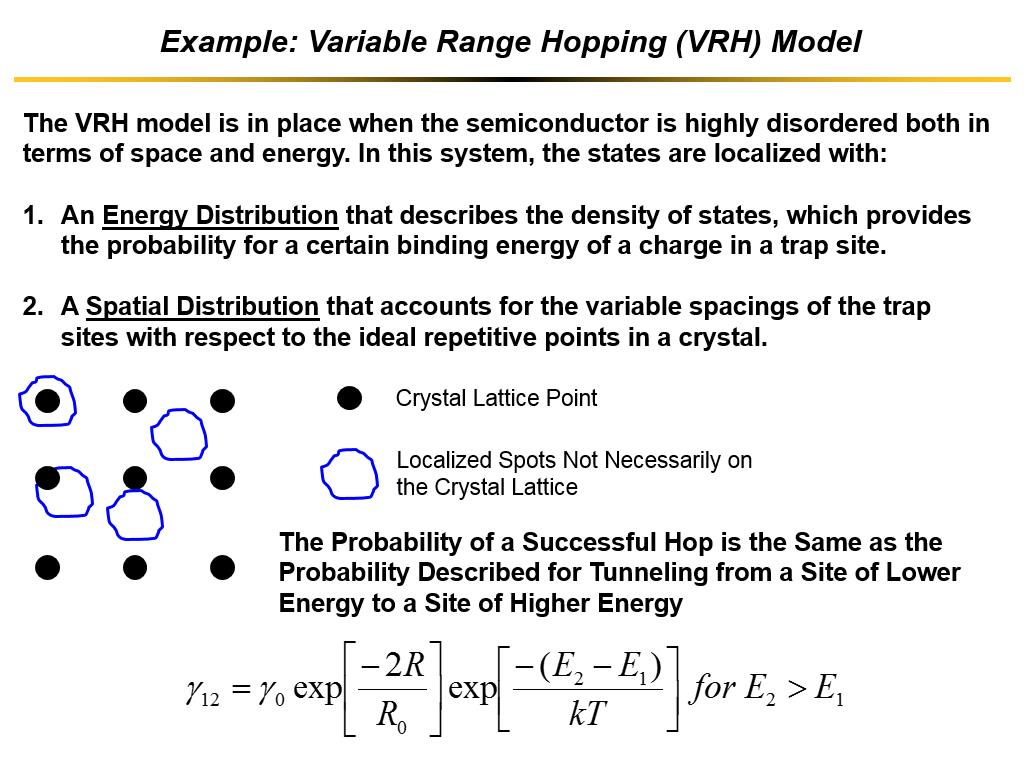 Example: Variable Range Hopping (VRH) Model