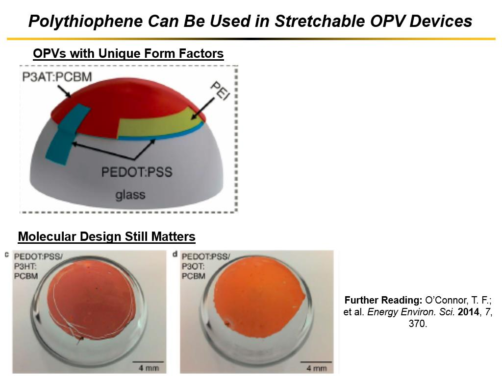Polythiophene Can Be Used in Stretchable OPV Devices