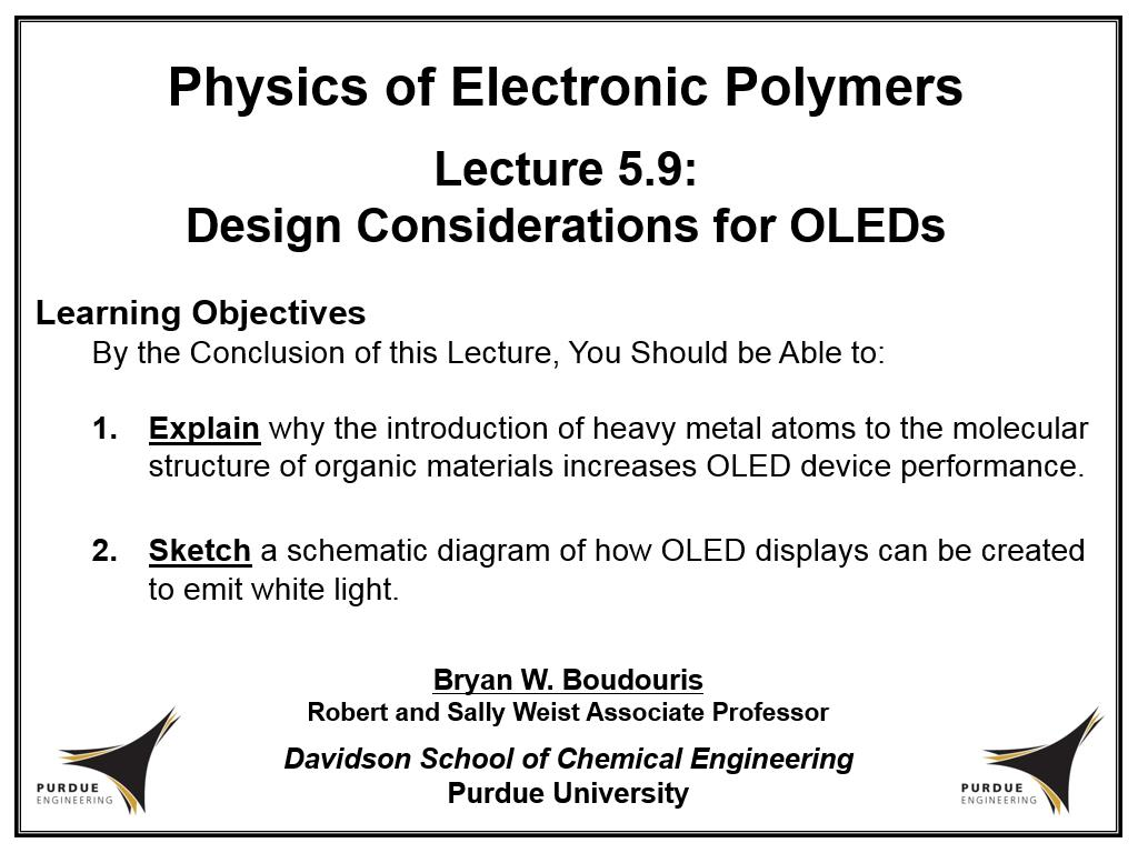 Lecture 5.9: Design Considerations for OLEDs