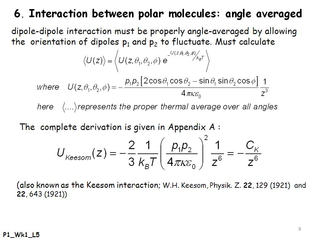Interaction between polar molecules: angle averaged