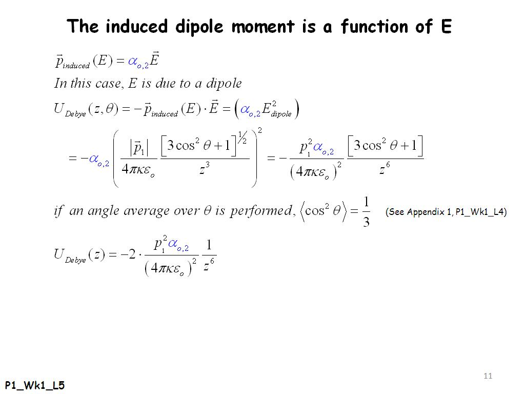 The induced dipole moment is a function of E