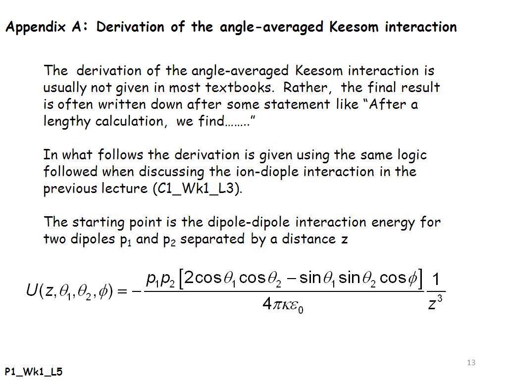 Appendix A: Derivation of the angle-averaged Keesom interaction