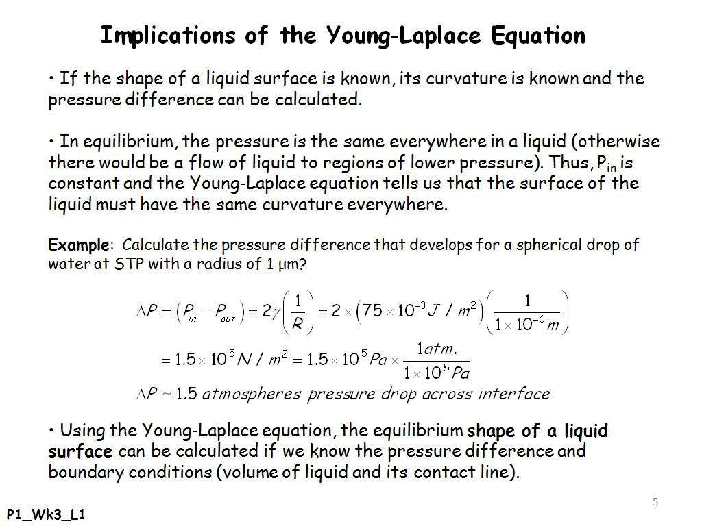 Implications of the Young-Laplace Equation