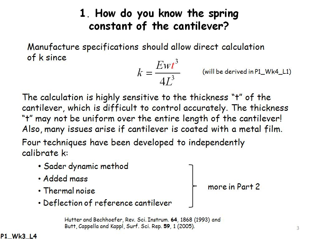 How do you know the spring constant of the cantilever?