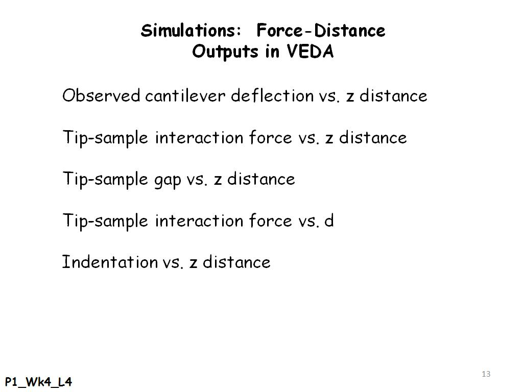 Simulations: Force-Distance Outputs in VEDA