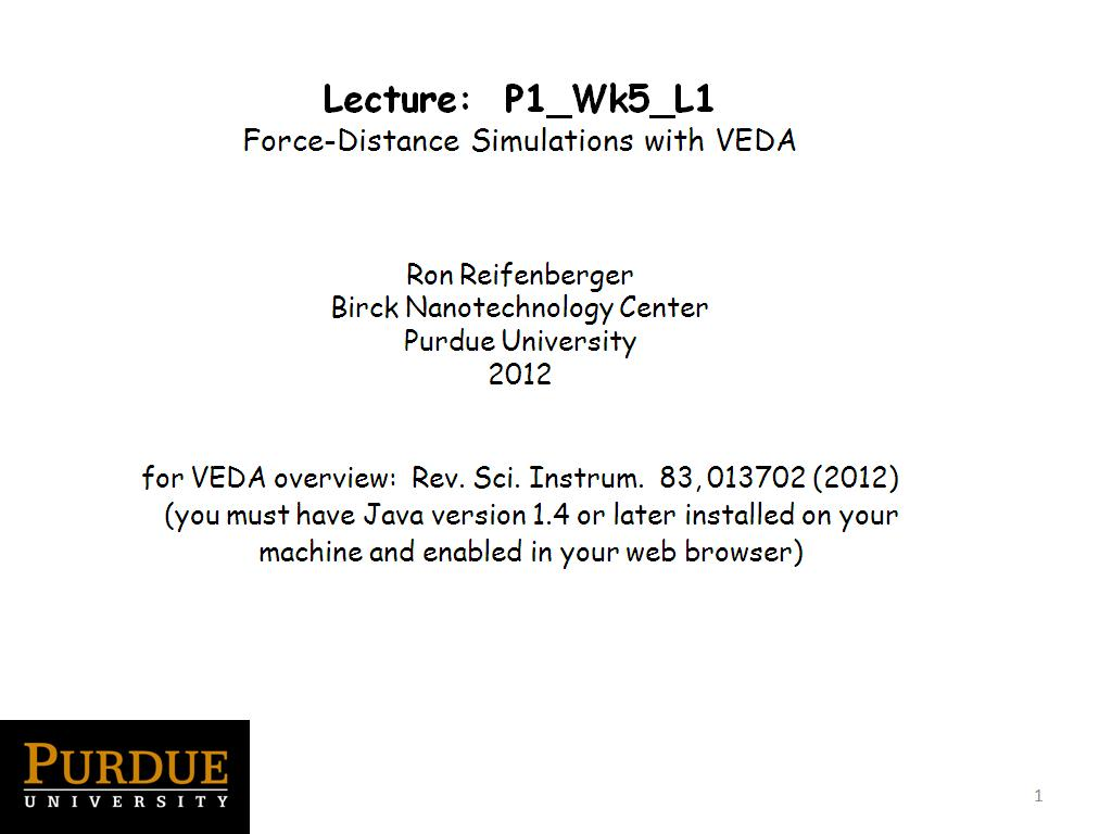 Lecture 5.1: Force-Distance Simulations with VEDA