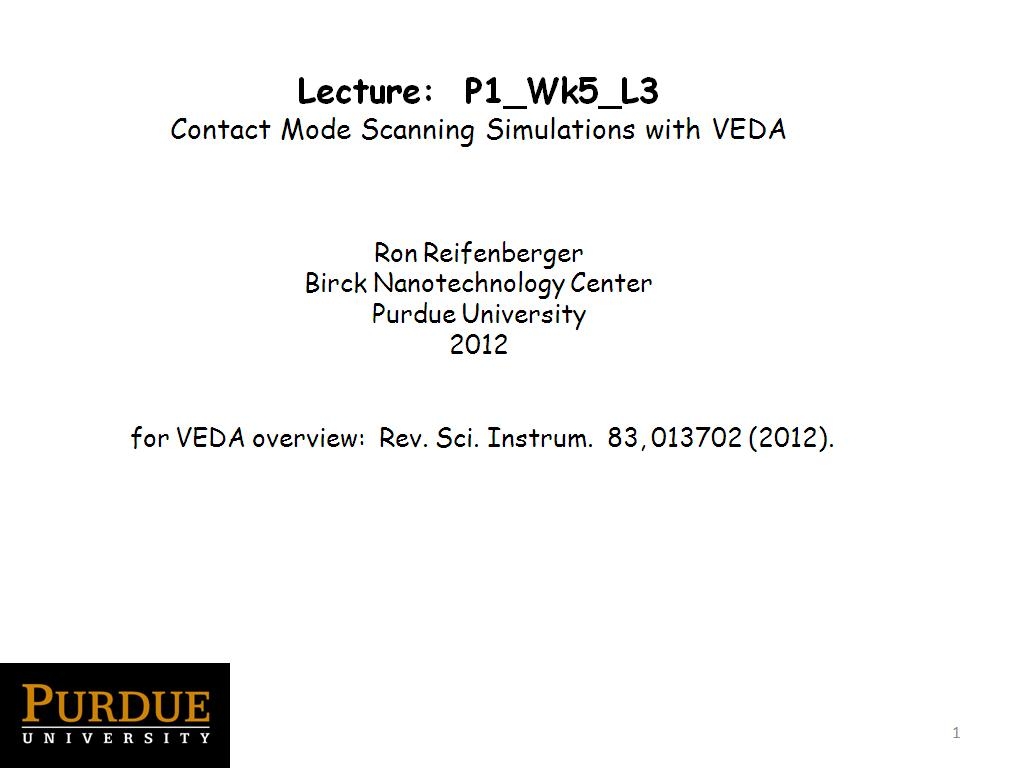 Lecture 5.2: Contact Mode Scanning Simulations with VEDA