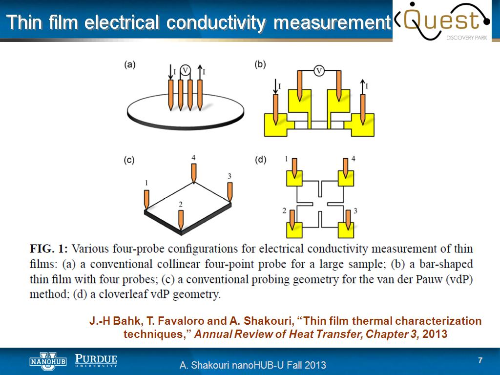 Electrical Conductivity Measurement : Nanohub courses u thermoelectricity from