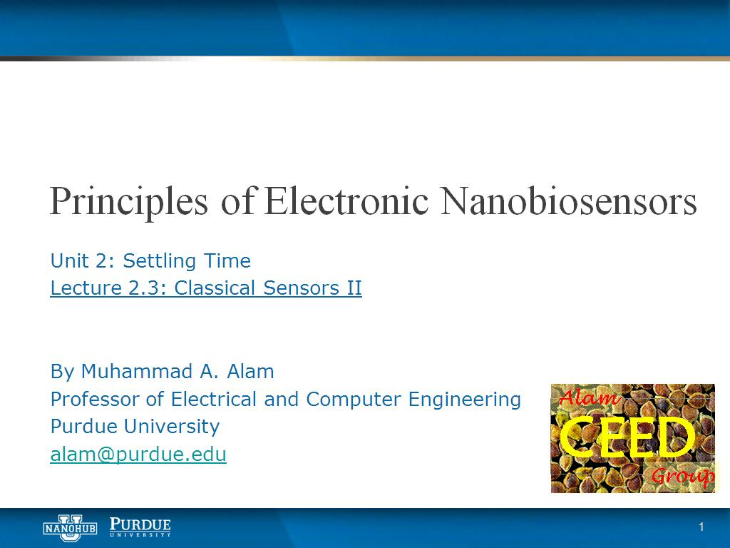 Lecture 2.3: Settling Time - Classical Sensors