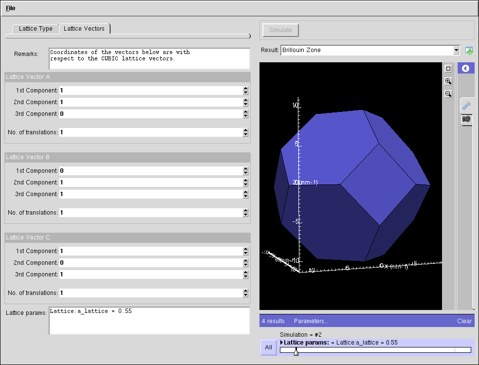 nanoHUB org - Resources: Brillouin Zone Viewer