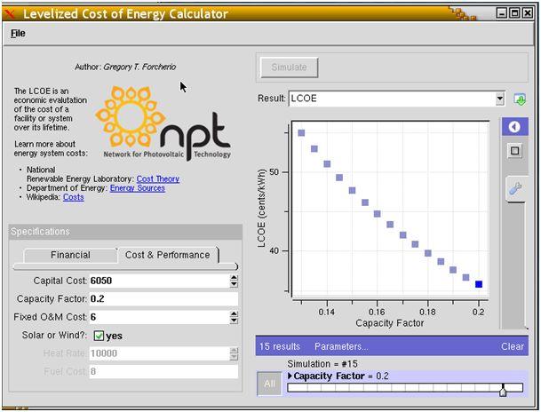 nanoHUB org - Resources: LCOE Calculator