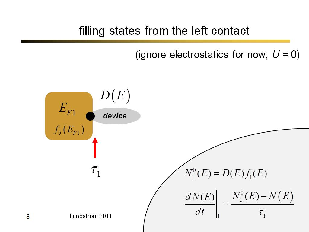 filling states from the left contact