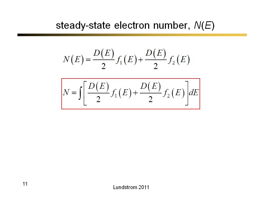 steady-state electron number, N(E)
