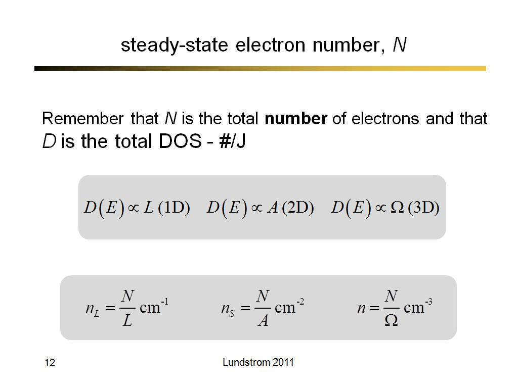 steady-state electron number, N