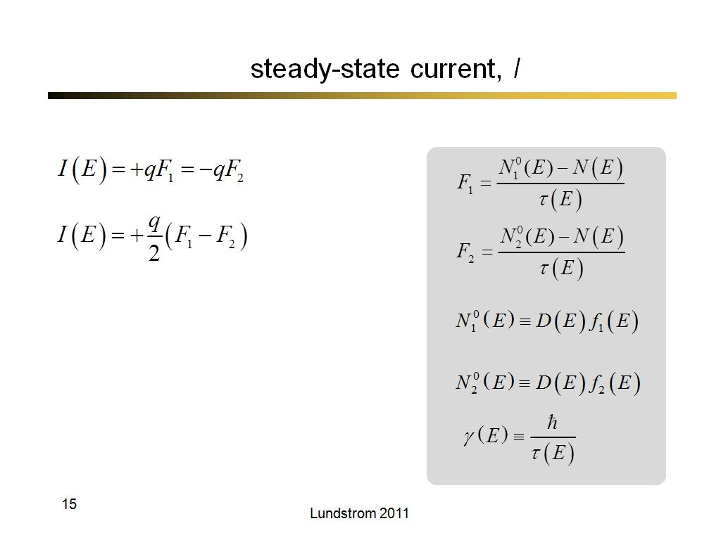 steady-state current, I