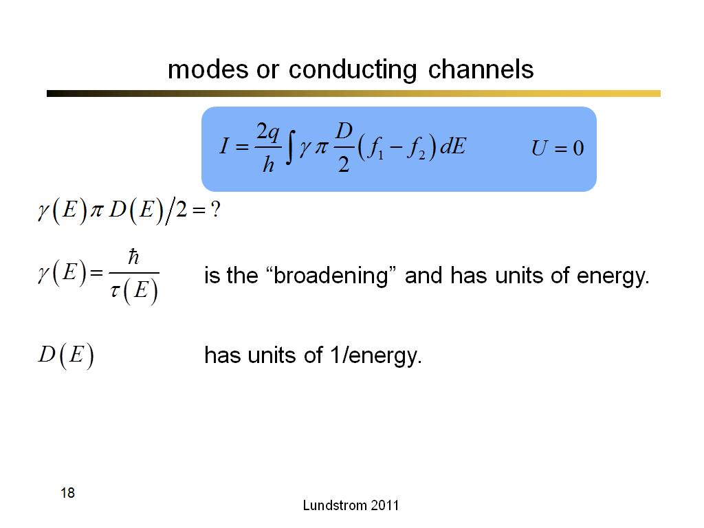 modes or conducting channels