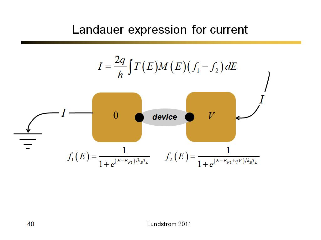 Landauer expression for current