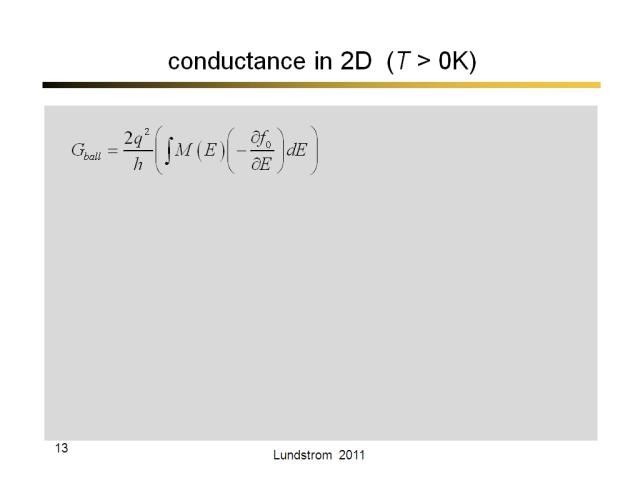 conductance in 2D  (T > 0K)