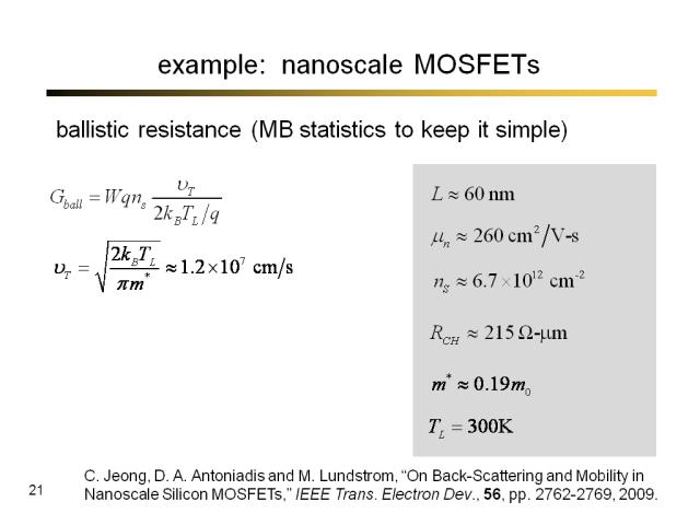 example:  nanoscale MOSFETs