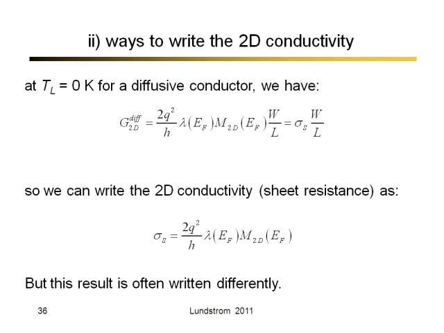 ii) ways to write the 2D conductivity