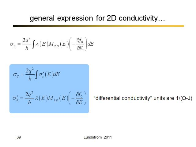 general expression for 2D conductivity…