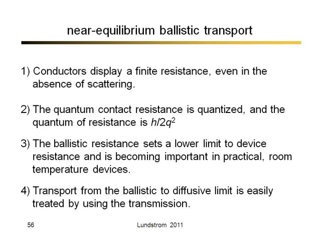 near-equilibrium ballistic transport