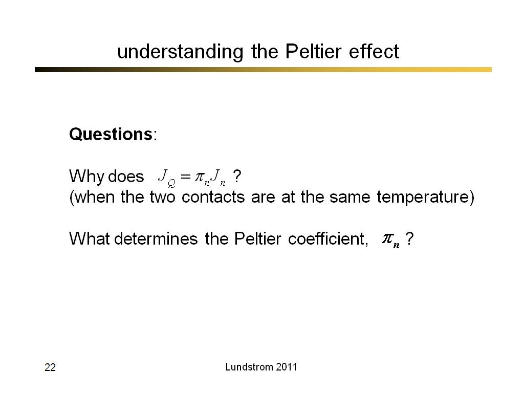 understanding the Peltier effect