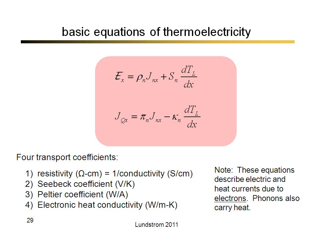 basic equations of thermoelectricity