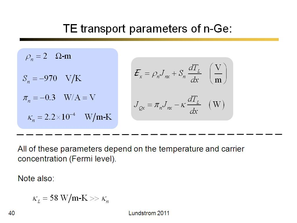 TE transport parameters of n-Ge: