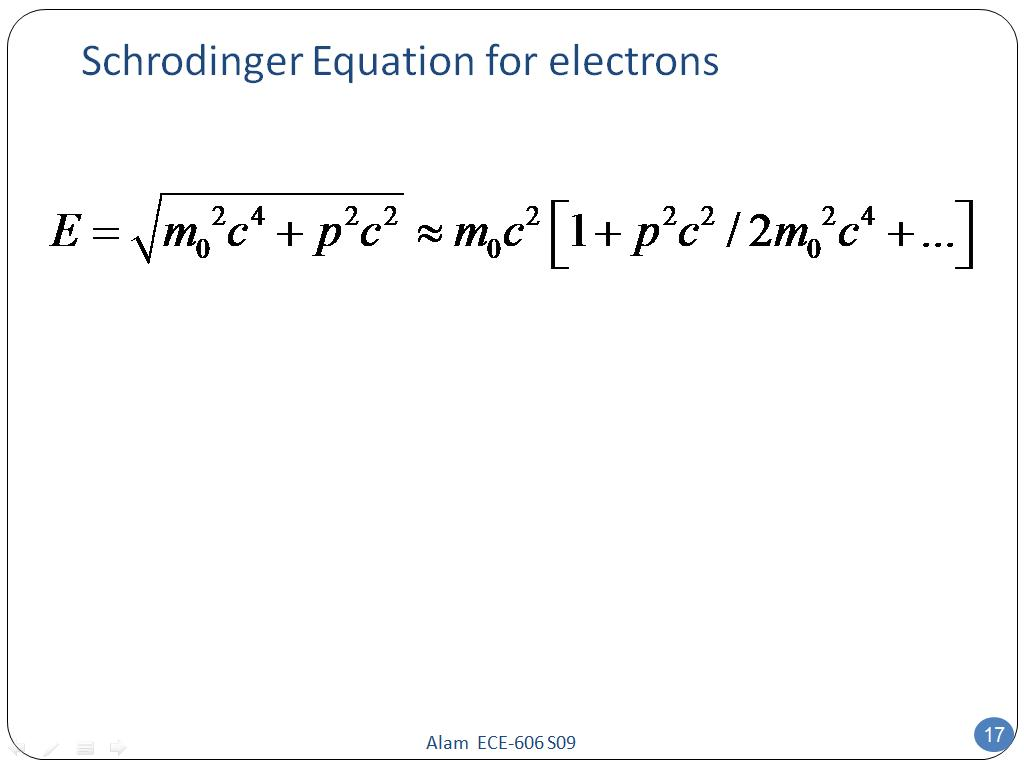 Schrodinger Equation for electrons