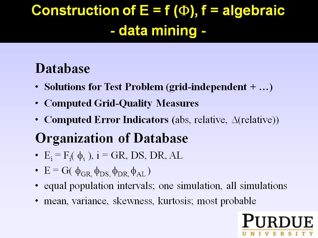 Construction of E = f (F), f = algebraic (data mining)