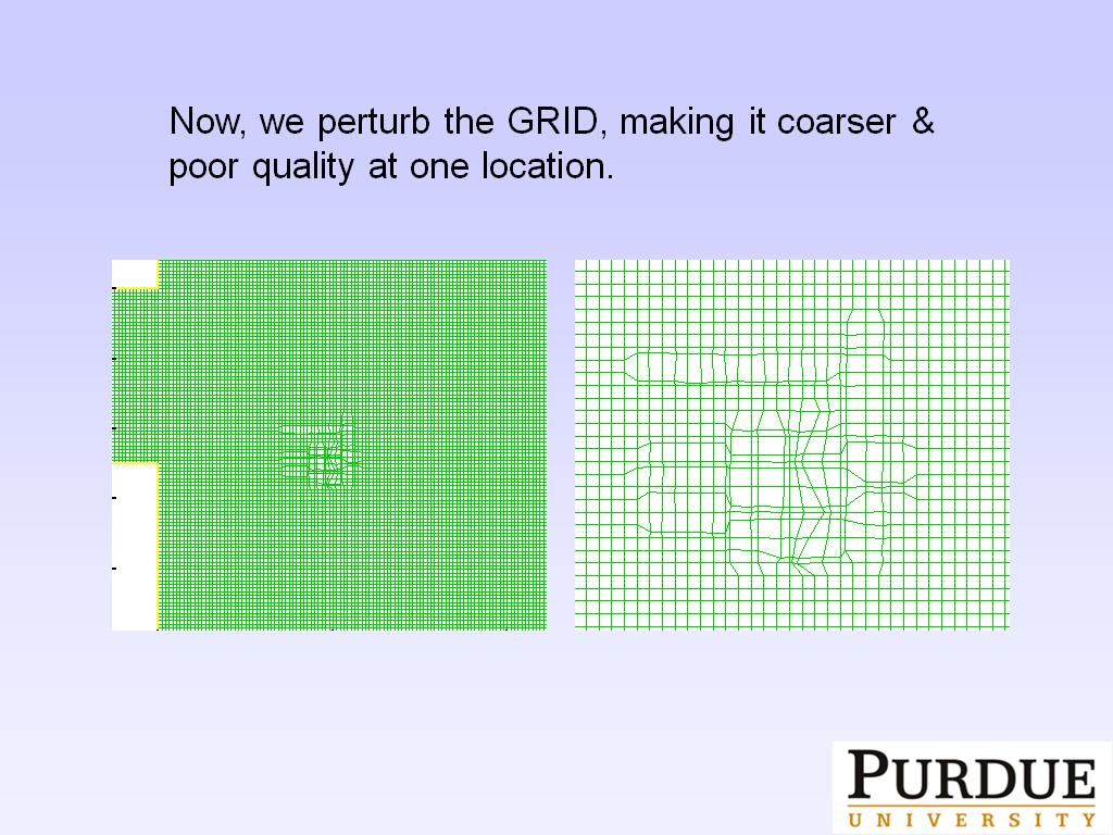 Now, we perturb the GRID, making it coarser & poor quality at one location.