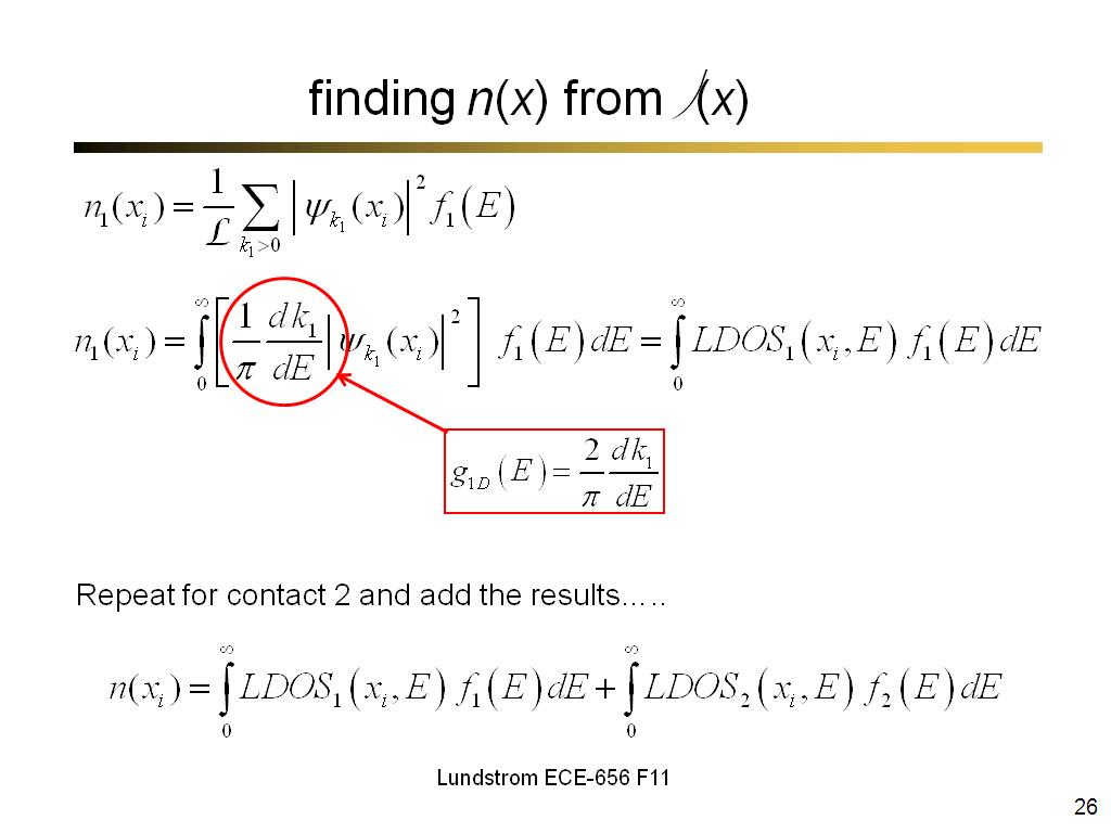 finding n(x) from ψ(x)