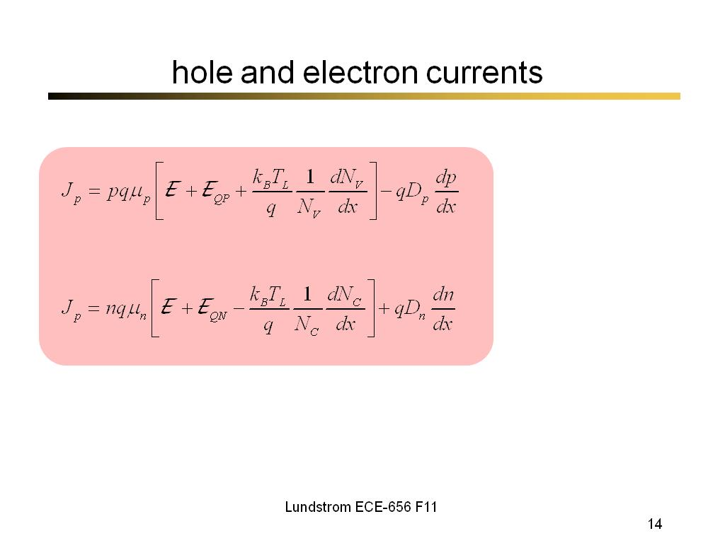 hole and electron currents