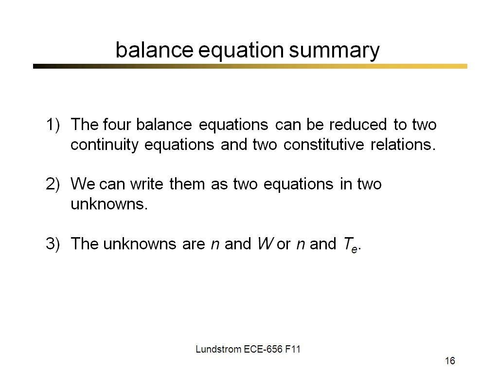 balance equation summary