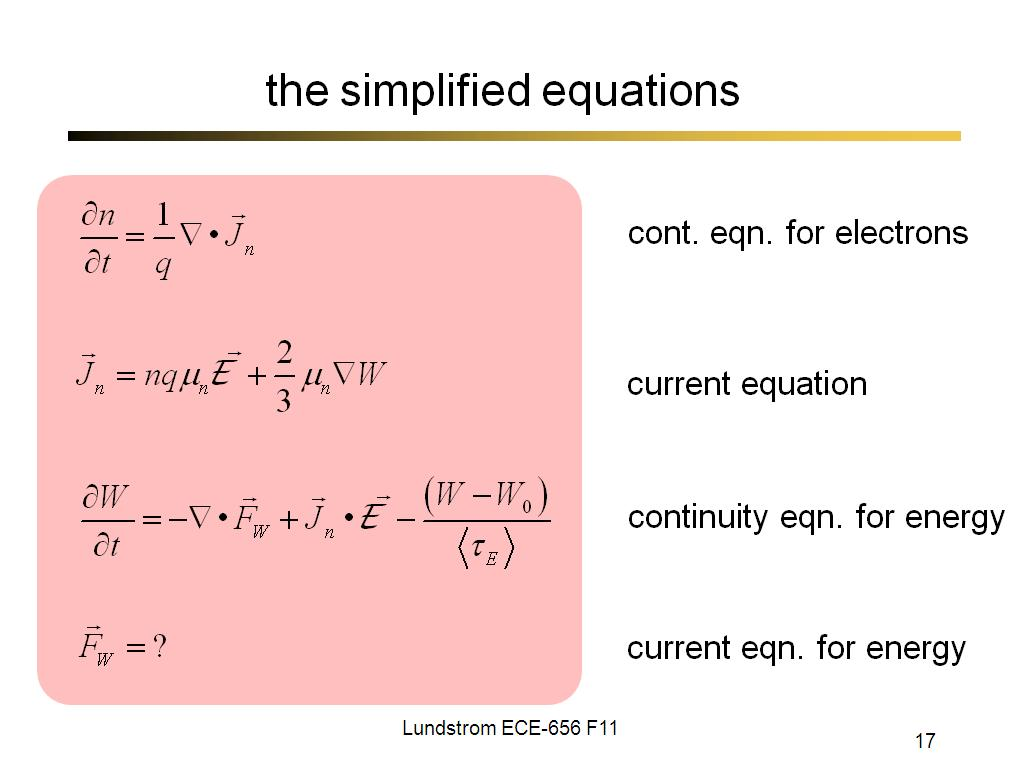 the simplified equations