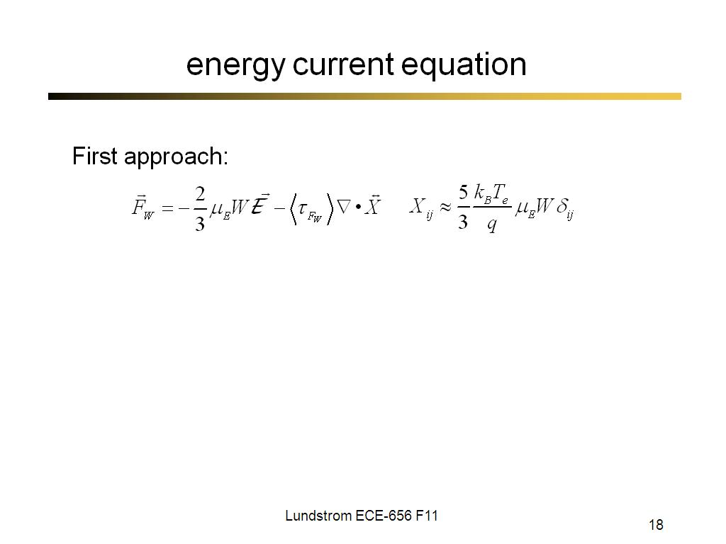 energy current equation