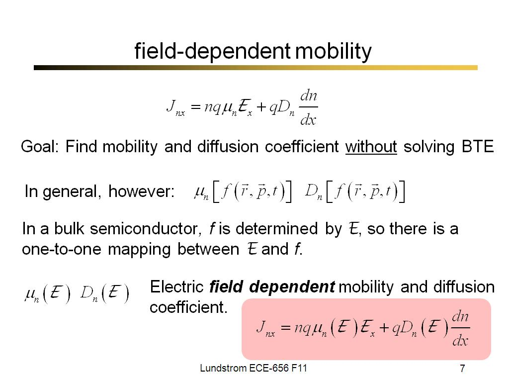 field-dependent mobility