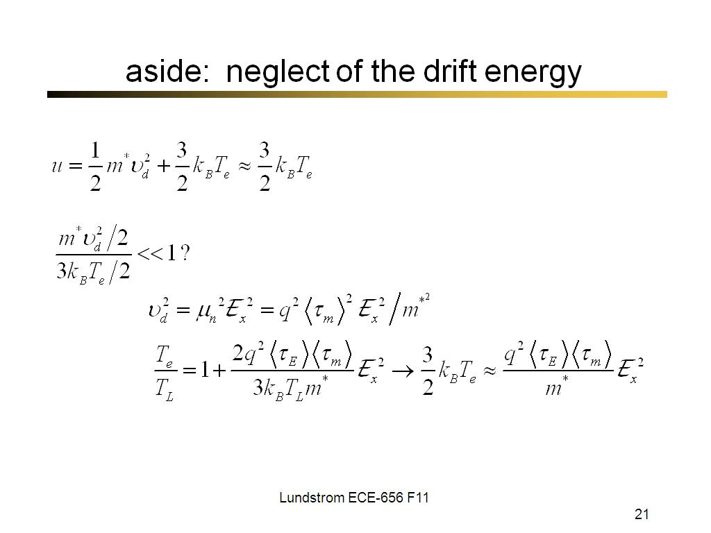 aside: neglect of the drift energy