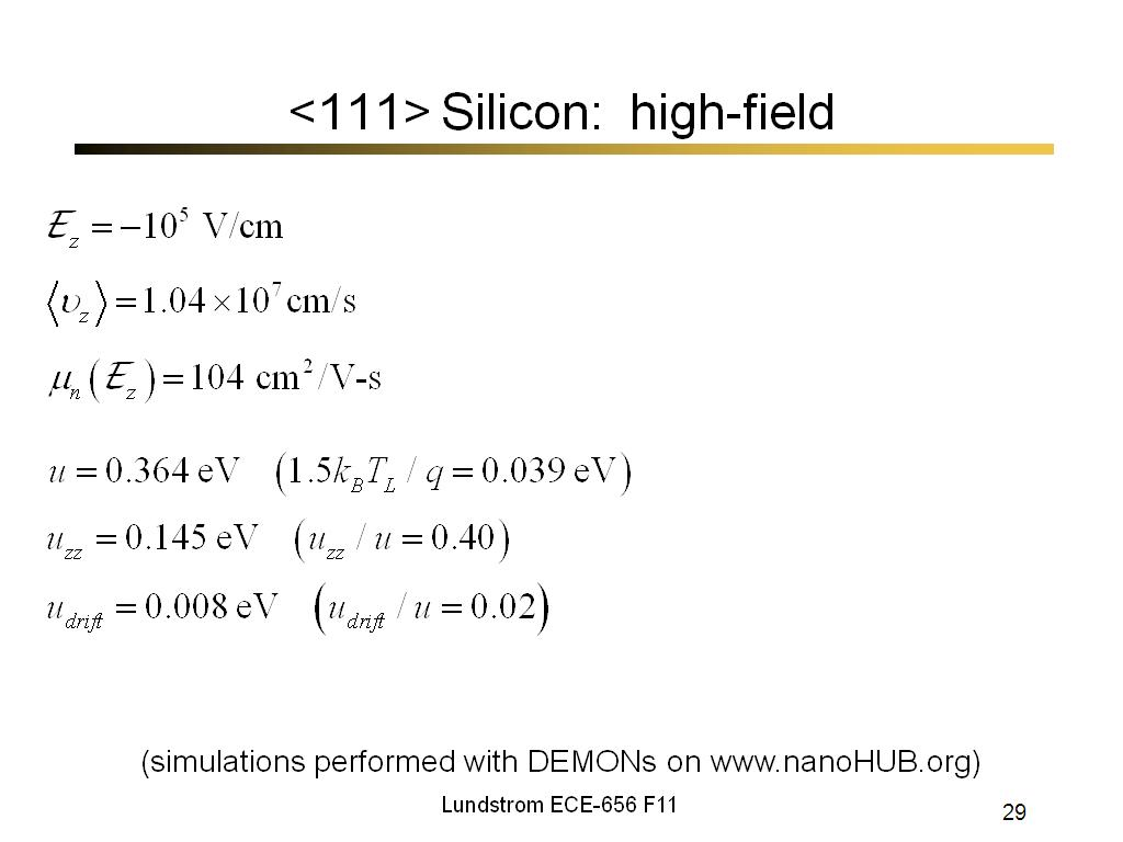 <111> Silicon: high-field