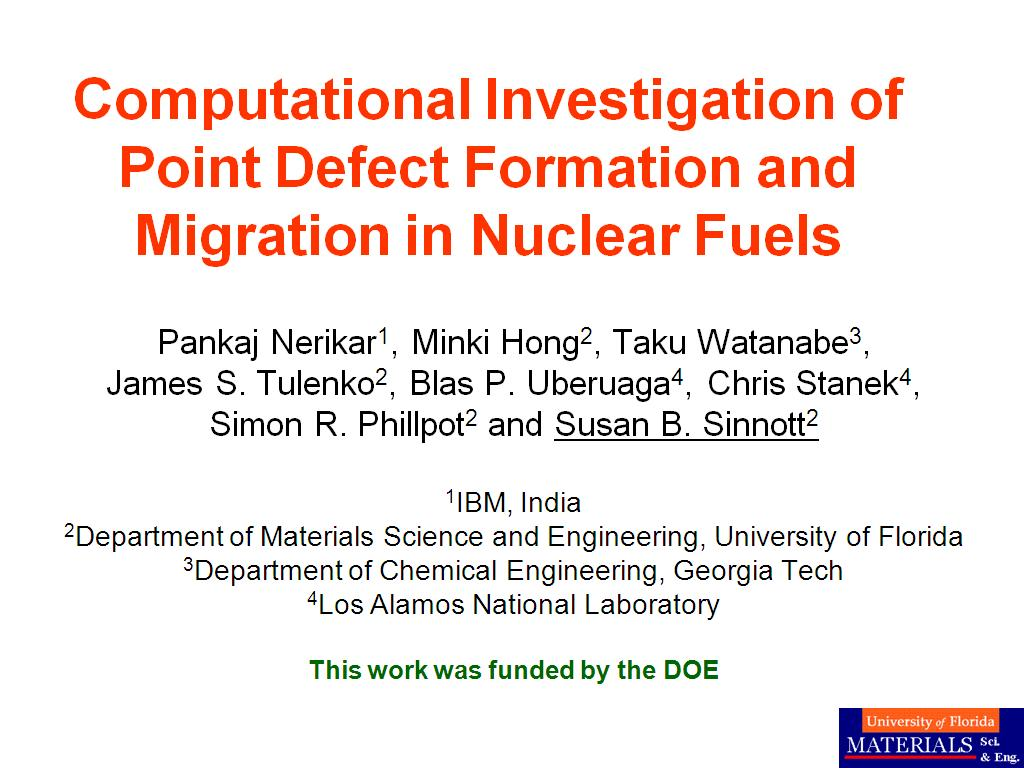 Computational Investigation of Point Defect Formation and Migration in Nuclear Fuels