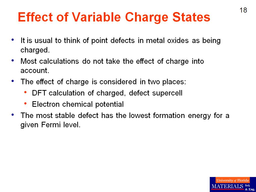 Effect of Variable Charge States