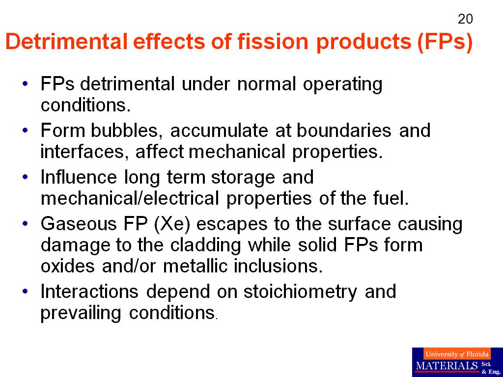 Detrimental effects of fission products (FPs)
