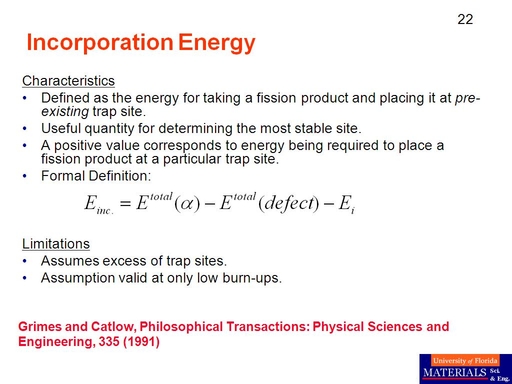 Incorporation Energy