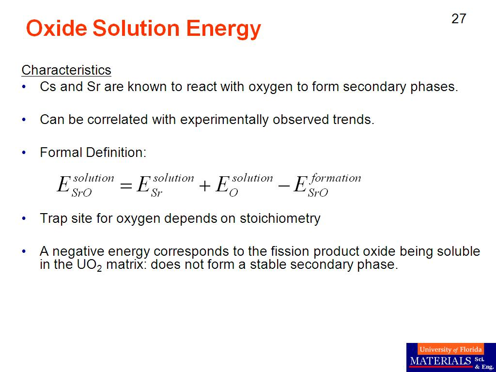 Oxide Solution Energy